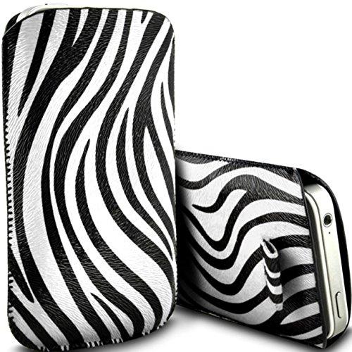 Blanco Zebra piel sintética cebra pestaña funda para Alcatel OneTouch 2001por Digi Pig
