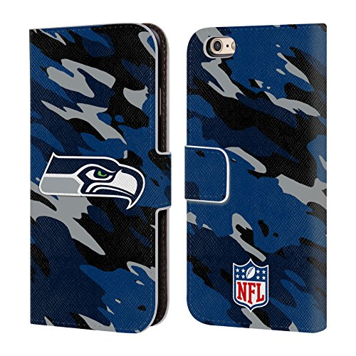 Offizielle NFL Fussball Seattle Seahawks Logo Brieftasche Handyhülle aus Leder für Apple iPhone 5 / 5s / SE Camou