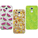 3x Coque Huawei Honor 6A,Huawei Honor 6A Etui TPU,ZHXMALL Premium Flexible Souple Silicone Ultra Mince Lége Transparent Case Slim Gel Couverture Housse Protection Anti rayures AntiChoc Pare-chocs Coque pour Huawei Honor 6A - Citron vert + Pizza + Pastèque