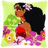 "Vervaco–Kit para cojín ""Moana isla chica cojín de punto de cruz, diseño de"", varios colores"