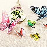 Imbry 72 Stück 3D Schmetterling Aufkleber Wandsticker Wandtattoo Wanddeko für Wohnung, Raumdekoration Klebepunkten+ Magnet (12 Blau + 12 Colour + 12 Grün + 12Gelb + 12 Rosa + 12 Rot) (Schmetterling) - 6