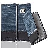 Cadorabo Hülle für Samsung Galaxy S6 Edge - Hülle in DUNKEL BLAU SCHWARZ - Handyhülle mit Standfunktion & Kartenfach im Stoff Design - Case Cover Schutzhülle Etui Tasche Book