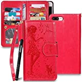 iPhone 7 Plus H�lle Leder,iPhone 8 Plus Handyh�lle,Slynmax Handytasche Schutzh�lle Rot Wallet Flip Case 9 Kartenf�cher Tasche PU Hardcase Stand Magnetverschlu� f�r iPhone 7 Plus/iPhone 8 Plus 5.5  medium image