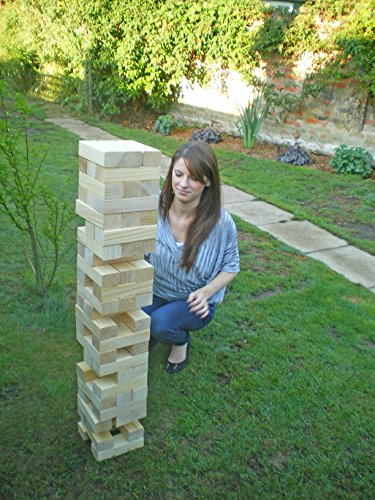 Garden Games Mega Hi-Tower in a Bag – Giant 0.9m – 2.3m (max.) Wooden Tower Block Game