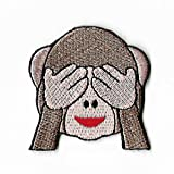 LipaLipaNa See No Evil Monkey Patch (2 Inch) DIY Embroidered Iron or Sew on Badge Applique 3 Three Wise Monkeys Aufnäher Best