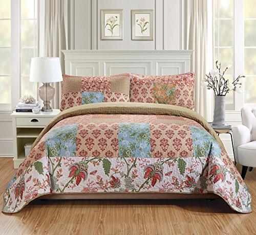 Fancy Linen Quilt Tagesdecke Set über Größe Bett Cover Squares Floral Beige Blau Rot Grün Weiß Neu King/California King Beige - Navy King California Quilt