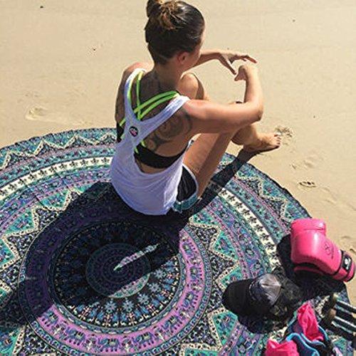 urbancharm- Indian Elephant Mandala rund Roundie Beach Überwurf Tapisserie Hippie Boho Gypsy Baumwolle Tischdecke Strandtuch