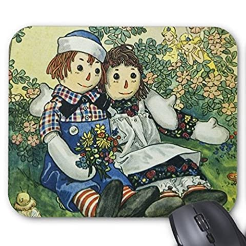 Beforyou Personalisierte Gaming Mauspads Mat mausepad Raggedy Ann and Raggedy Andy with Two Robins Mouse Pad 22cmx18cm (9x7 inches)