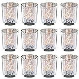 Teelichtglas DEYLE - 12 Stück - Silber - verspiegelt - Teelichthalter - Windlicht - Tischdeko (5,5 x 6,5 cm)