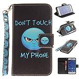 Qiaogle Téléphone Coque - PU Cuir Rabat Wallet Housse Case pour Samsung Galaxy Core Prime G360 (4.5 Pouce) - TX41 / Bleu Don't Touch My Phone