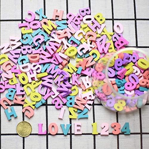 DAHI Buchstaben Holz Nummer ca.300 STK bunt Kleinbuchstaben Hölzerne Zahlen für Kunst Handwerk DIY Dekoration Anzeigen (Zahlen Holz-buchstaben)