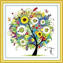 Kit de punto de cruz, juego de cuatro estaciones, para decoración del hogar, árboles de colores