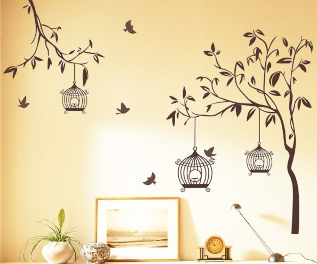 Decals Design Tree With Birds And Cages Wall Sticker Pvc Vinyl 60 Cm X 90 Cm Brown