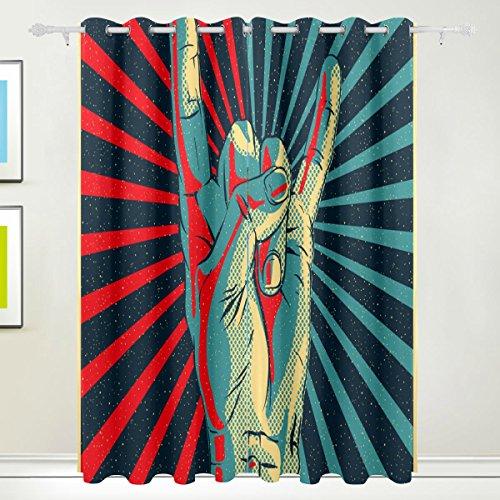 COOSUN Hand in Rock Roll Zeichen Blackout Vorhänge mit Tülle Top thermische isolierte Verdunkelung Vorhänge für Wohnzimmer, Schlafzimmer, 55 x 84 l Zoll, 2 Panels (Oben 84 Tülle Vorhänge)