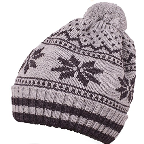 Beanie Hüte Wärme Mützen Damen Herren Nordic Star Oversize Morefaz TM (Brown)