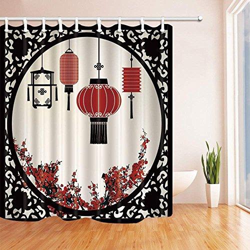 cdhbh Laterne Decor Laternen mit japanischen Sakura Cherry Blossom Bäume und rund Kunstvoller Figur Graphic Dusche Vorhänge 180,3x 180,3cm Badezimmer Fantastische Dekorationen Bad Vorhänge Haken im Lieferumfang enthalten