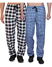 Maxis Men's Cotton Bottoms Black and Blue_Free Size - Pack of 2