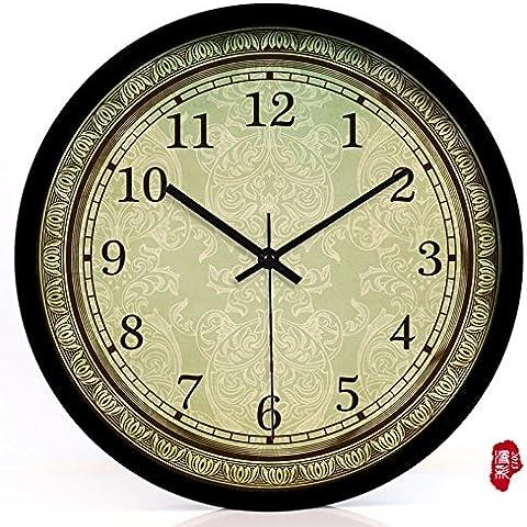 nllpjmf casa e cucina orologi orologio da parete, Black metal bezel, 35,5 cm - Gold Diamond Bezel Orologio