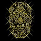 Luxflair Strassstein Motiv Totenkof Gold-farbig, XXL Strass Bügelbild/Bügelmotiv ca. 17,8 x 27,9cm inkl. Anleitung zum Veredeln von Textilien