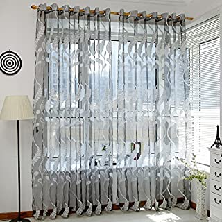 Gaddrt Window Curtain 1 Panel Thermal Insulated Fabric Wheat Sheer Solid Eyelet Curtain Tulle Window Treatment Voile Drape Valance, 200cmx100cm for Living Room Bedroom Nursery Gray