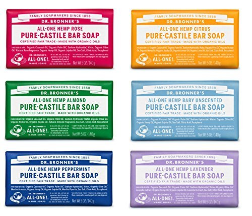 Dr. Bronner's Magic Soaps Pure-castile Soap Variety Gift Pack Sampler; 6 Assorted 5 Ounce Bars by Dr. Bronner's - Soap-sampler