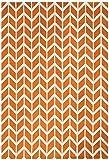 Moderner Designer Teppich Armel Chevron Rug 160x230cm Orange AR07 Orange Microfibre Polyester