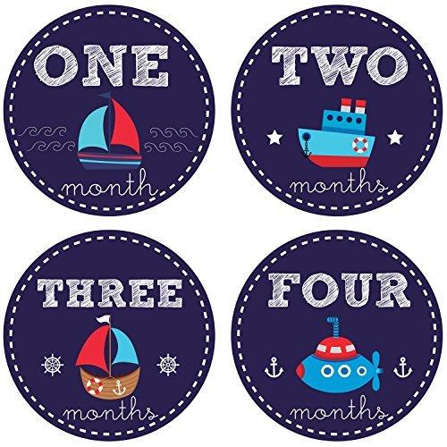 Pinkie Pinguin Baby Monatliche Aufkleber-Nautisches Thema-Segelboot Baby Boy Aufkleber-1-12Monate-Milestone Einteiler Aufkleber-Baby Dusche Geschenk