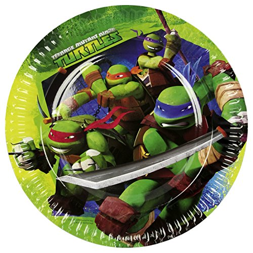 PARTY DISCOUNT NEU Teller Ninja Turtles, 8 Stück, Ø 23 cm