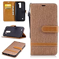 For LG K7 Case,LG K8 Case [with Free Screen Protector], Qimmortal(TM) Premium Soft PU Leather Cowboy Cloth Wallet Cover Case with [Kickstand] Credit Card ID Slot Holder Magnetic Closure Design Folio Flip Protective Slim Skin Cover For LG K7/K8(Coffee)