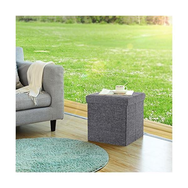 SONGMICS Ottoman Linen Fabric Folding Storage Bench Versatile Space-saving 3