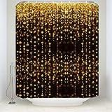 Z&L Home Luxus Bling Dusche Vorhänge Warm Lampen Celebration Mottoparty Badezimmer Zubehör New Polyester-Wasserdicht-Bad Vorhang, Polyester-Mischgewebe, Gold, 72x78Inches