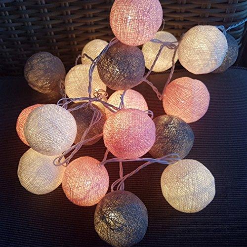 Befied Lichterkette kugeln 3m 20er Baumwollkugeln Batterie/USB/Strom-Betrieben LED Lichterkette für Garten Party Weihnachten Hochzeit Zimmerdekoration (Gemischt, Steckdose) (Spiegel-ball-licht)