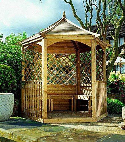 Kiosque Hexagonal en Bois avec Plancher, Treillis Latérales et Balustrade. Dimensions: 270 cm x 234 cm x Hauteur 310 cm