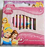Disney Royal Princess Wax Crayons for Colouring - Pack of 24 with Cinderella Belle and Rapunzel by Disney