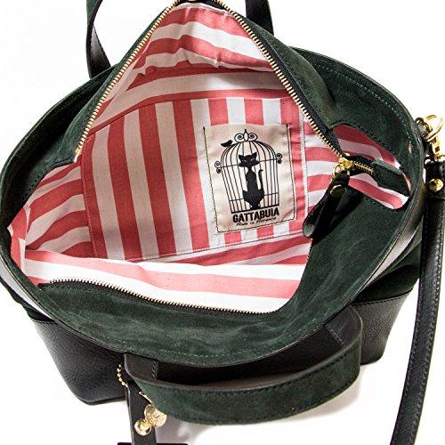 Gattabuia - borsa Laura in pelle e pelle scamosciata Ebano-Bosco