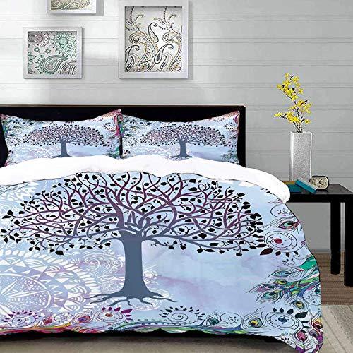 Bedding Juego de Funda de Edredón,Microfibra -Naturaleza, lindo adorno del árbol de la vida con plumas de pavo rea - Funda de Nórdico y Fundas de Almohada - (Cama 150 x 200cm + Almohada 63X63cm)