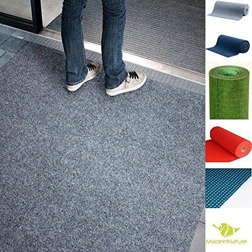Tappeto indoor o outdoor in erba sintetica | fondo con borchie | dimensione e colore scelta | madeinnature® (080 x 200 cm, grigio)