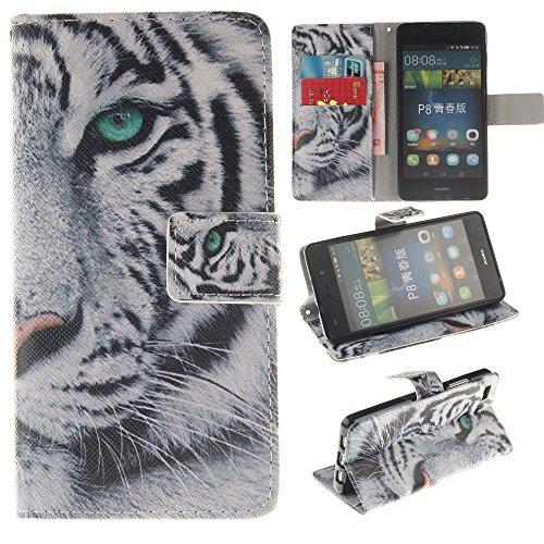 Skytar P8 Lite Schutzhülle,Cover für Huawei ALE-L21,Folio Cover Wallet Case Stand Leder Handy Tasche Hülle für Huawei P8 Lite 2015 / ALE-L21 Schutzhülle,Weißer tiger -