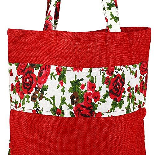 Vielzweck Große Einkaufstasche - Boho-Einkaufstasche hergestellt aus natürlichen Eco Friendly Jute Multi-19