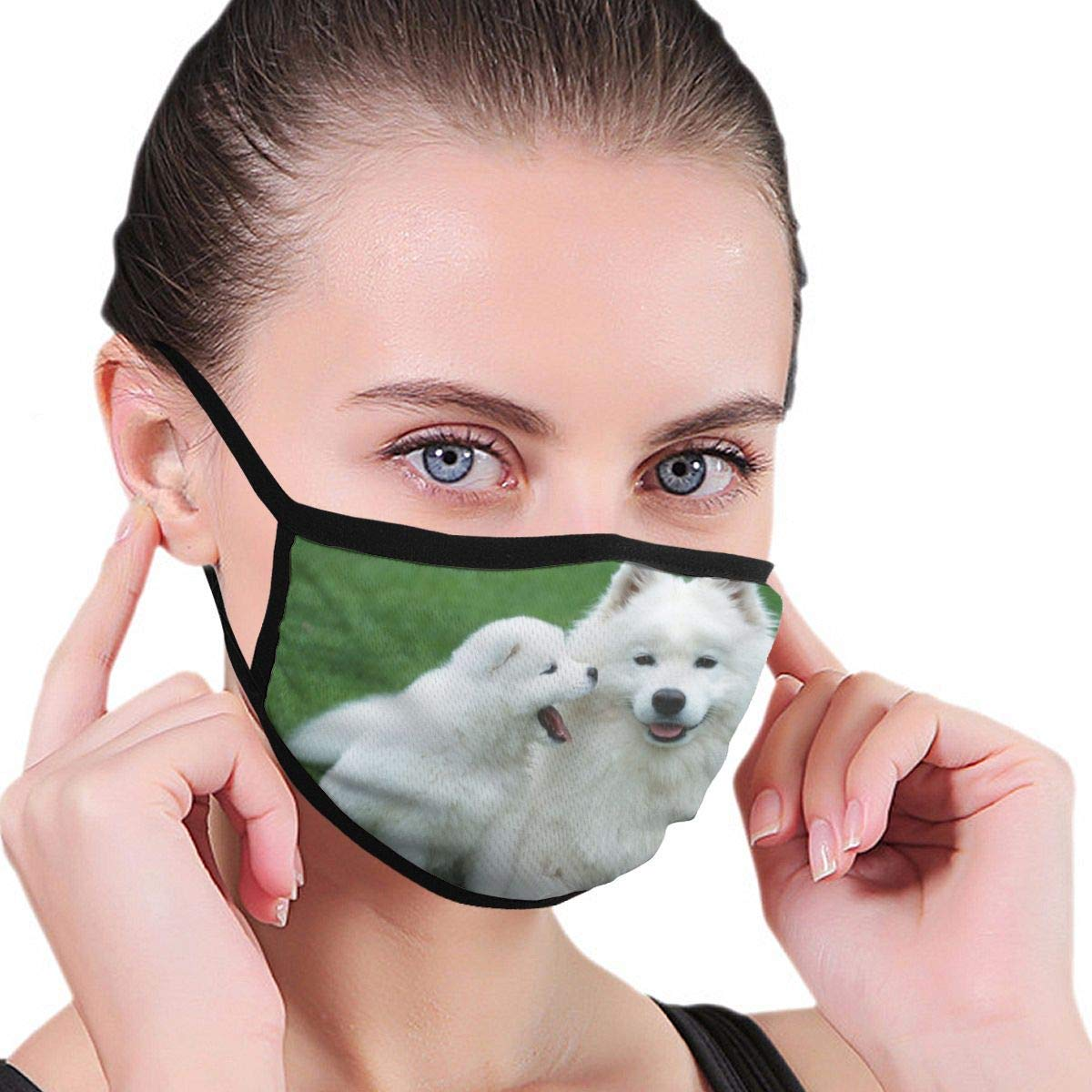 Bdwuhs Mascarillas Bucales Dogs Samoyed Washable Reusable Mouth Mask Cotton Anti Dust Half Face Mouth Mask For Men Women Dustproof with Adjustable Ear Loops