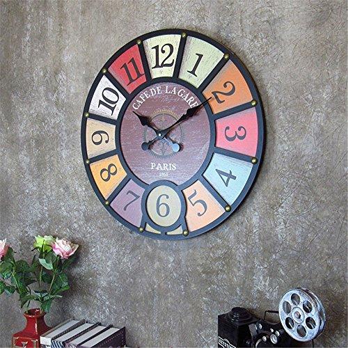 DJYJX Wanduhr,Wohnzimmer Wanduhr,Zuhause Wanduhr,Vintage Wanduhr,Mode Wanduhr,Wanduhr Europäische kreative hölzerne Uhren Arbeiten hängende Tabelle der Hauptwandbehangwanddekorationssonnenbewegung um