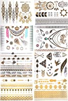 Metallic Temporary Tattoos, PrettyDate 150+ Henna & Boho Designs in Gold Silver Black, Fake Glitter Jewelry Tattoos- Bracelets, Necklaces, Wrist, Anklets and Armbands?8 Sheets?
