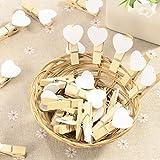 50 uds. Mini pinzas de madera con corazon blanco adorno para celebracion boda