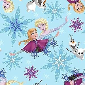 Tissu en polaire Frozen Elsa Anna Olaf Bleu–sc014–0,5m multiples–Polaire 100% polyester