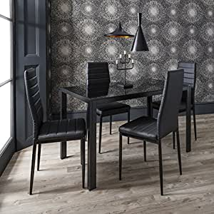 Laura James Dining Table 4 Bonded Leather Chairs Set