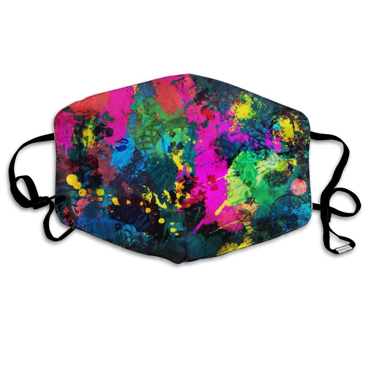 Daawqee Máscara de Boca, Color Paint Splatter Adult Creative Mascarilla Washable Safety 100% Polyester Comfortable Breathable Health Half Face Masks