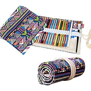 Damero Design Canvas Wrap Holder for 72 Colored Pencil, Roll Case for Gel pen, Travel Organiser Pouch for Artist, Multi-purpose (NO Pencils included), 72 Holes, Bohemian
