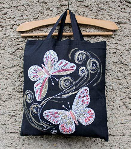 (Verkauf!!!20% reduziert,Handgemalte Schmetterling Einkaufstasche, Einkaufstasche, Schmetterling Canvas Tote, rote Schmetterling Tasche, Geschenk für sie, Baumwolle Einkaufstasche, Geburtstag)
