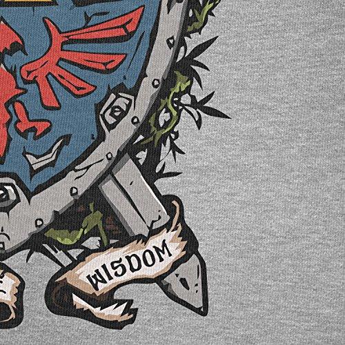 NERDO - Power Courage Wisdom Shield - Herren T-Shirt Grau Meliert
