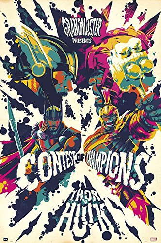 Up Close Poster Marvel Thor: Ragnarok - Contest of Champions/Thor vs Hulk (61cm x 91,5cm) + 2 tringles Noires avec Suspension